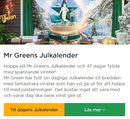 Årets Julkalender 2019 på Mr Green!