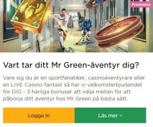 Besök Mr Green's Julkalender 2019!