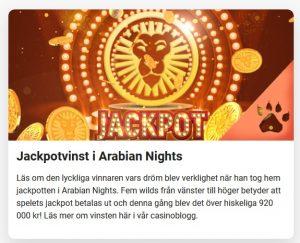 Spelare vann 920 000 kr i Jackpotvinst i Arabian Nights!